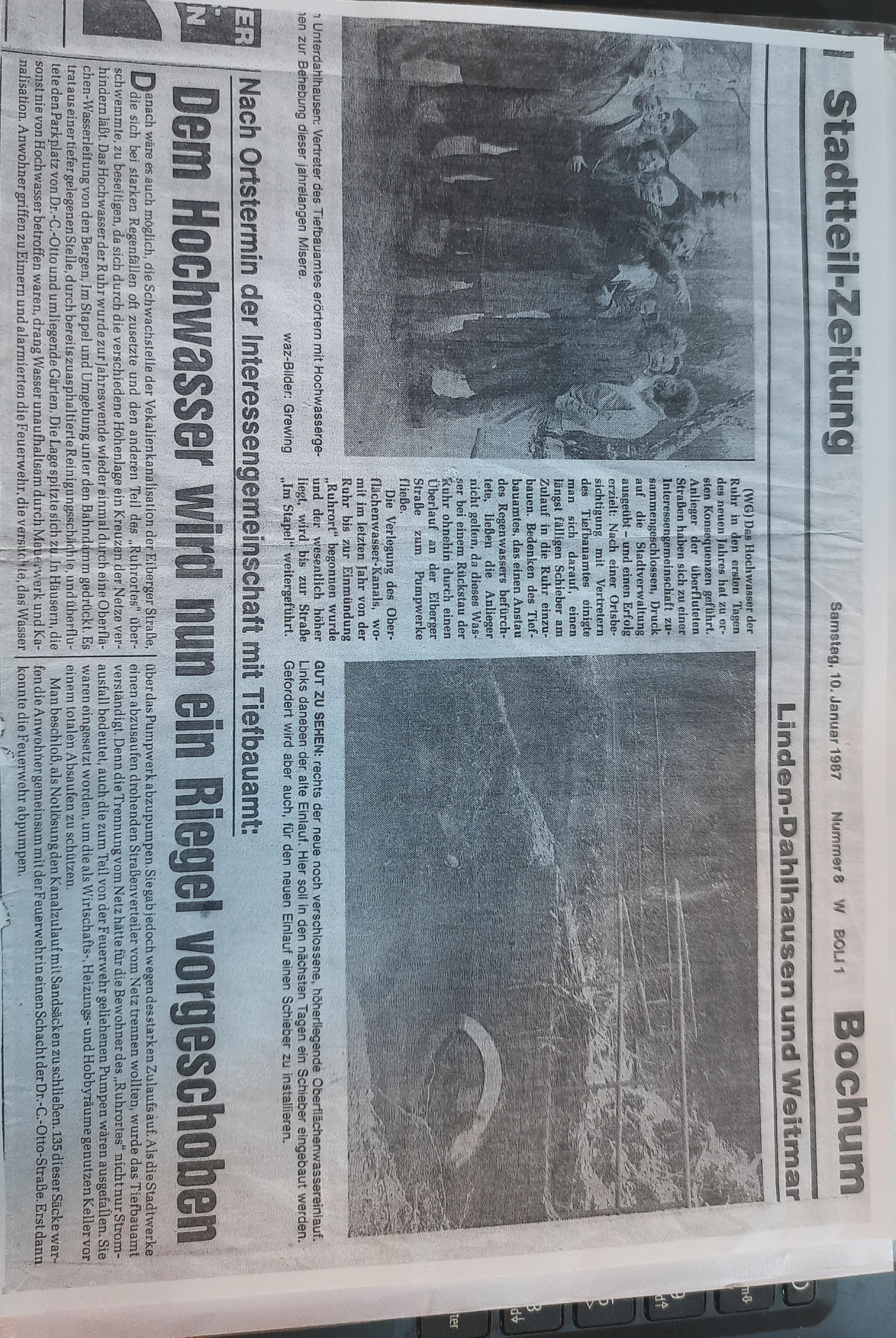 Zeitungsartikel zum Schieber von 1987